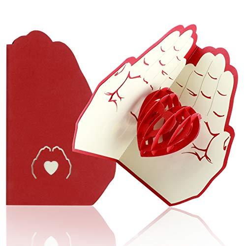 YIRSUR Pop-Up Karte Geburtstagskarte, 3D Herz Grußkarten-Romantik Faltkarte Grußkarte Muttertag Karte, Romantische Liebeskarte zu Weihnachten, Geburtstag oder Hochzeitstag (inkl Umschlag)
