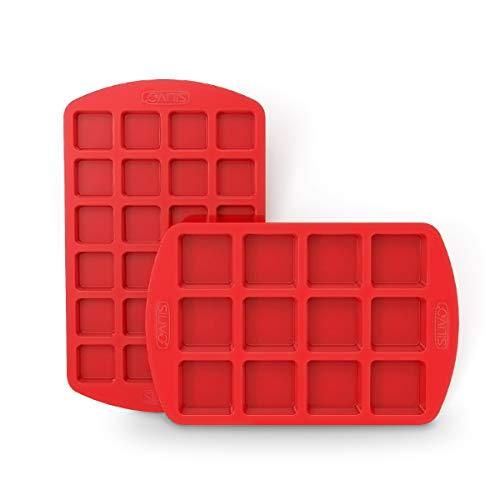 Molde de silicona Brownie – Juego de 2 moldes cuadrados para muffinform de silicona antiadherente, para brownie, bombas de grasa de keto, fudges, bombones, dulces y pasteles de Minecraft
