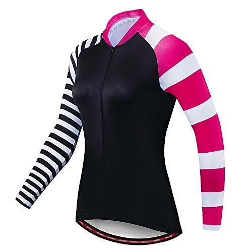 Lisansang Maillot de ciclismo de rayas de colores, mangas ajustadas, para bicicleta de montaña, con tiras reflectantes en la parte trasera, para ciclismo, correr, gimnasio, entrenamiento, color A rayas, tamaño Large