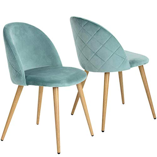 Coavas Esszimmerstühle Küchenstühle Wohnzimmerstühl 2er Set Samt Weich Kissen Sitz und Rücken Mit Hölzernen Metallbeinen Küche Stühle für Home und Wohnzimmer, Grün
