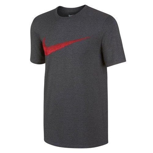 NIKE M NSW tee Hangtag Swoosh Camisetas - Camisetas y Tops, Hombre, Charcoal Heathr/University Red, XL