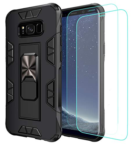 Mieziba for Galaxy S8 Case with Tempered Glass Screen Protector [2 Pack], [ Military Grade ] 15ft. Drop Tested Protective Case [Kickstand] Compatible for Samsung Galaxy S8,Black