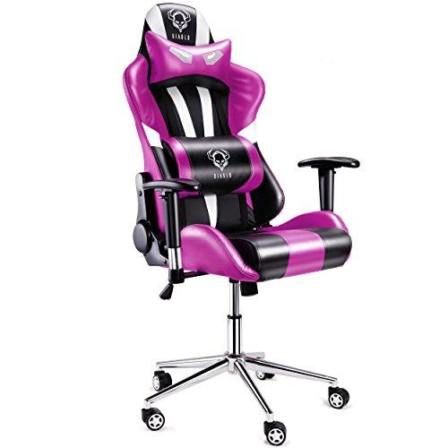 Diablo X-Eye Chaise de bureau Fauteuil gamer Chaise gamer fonction d'inclinaison accoudoirs réglables, éléments chromés, Capacité de charge jusqu'à 150 kg Sellerie simili cuir, coussin lombaire