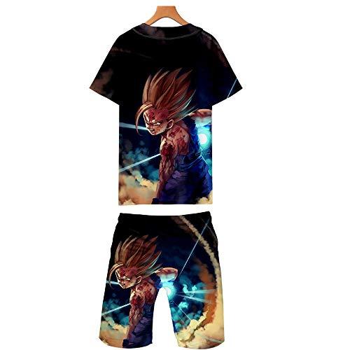 GMANKEE Casual Camisetas Pantalones Cortos Y Mangas Cortas Deportes Ocio Pijama T-Shirt Ropa De Salón Ropa Hombre Pijamas Mujer Dragon Ball Goku Anime Ropa,4XL