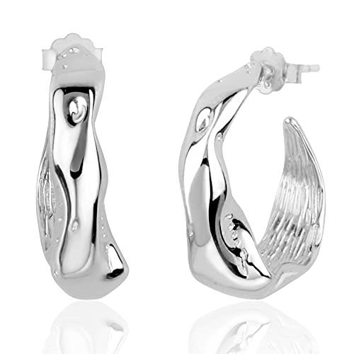 Kakikaki Pendientes de aro de plata de ley hechos a mano martillados medianos irregulares gruesos para mujer