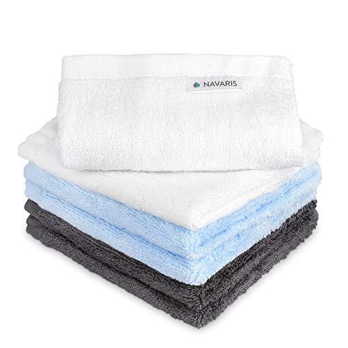 Navaris Waschlappen Set 6-teilig Baby-Waschlappen aus Bambus - 25x25cm weiche Lappen - Reinigungstücher Waschtücher - umweltfreundlich waschbar blau