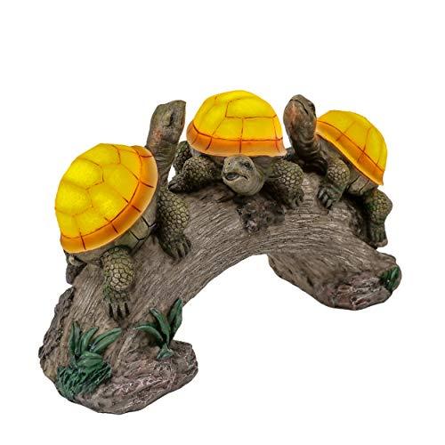 TERESA'S COLLECTIONS Animali da Giardino Tartaruga Decorazione da Giardino Statua Giardino Fatina Turtle Resina Accessori da Statua Esterna con Luci Solare
