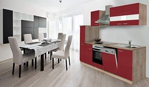 respekta keuken kitchenette inbouwkeuken keukenblok 250 cm eiken ruw gezaagd rood Ceran