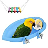 Bañera para pájaros con espejo, para colgar pájaros, accesorios para bañera y columpio de juguete para loro pequeño