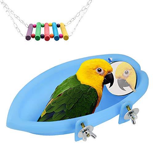 Vogelbadewanne mit Spiegel, hängende Vogeltränke Vogeldusche Badewannenzubehör und Hängeschaukel Spielzeug für kleine Papageien Sittiche Nymphensittiche