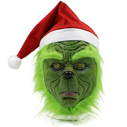 The Green Mask,Green Latex Full Head Mask Christmas Mask Costume with Red Santa Hat Cosplay Halloween PartyProps for Adult Fancy Dress