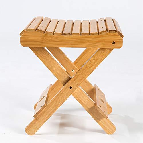 æ— Taburete plegable de madera de bambú, taburete plegable para cocina, taburete plegable de bambú, taburete portátil de madera para baño, picnic, playa y camping