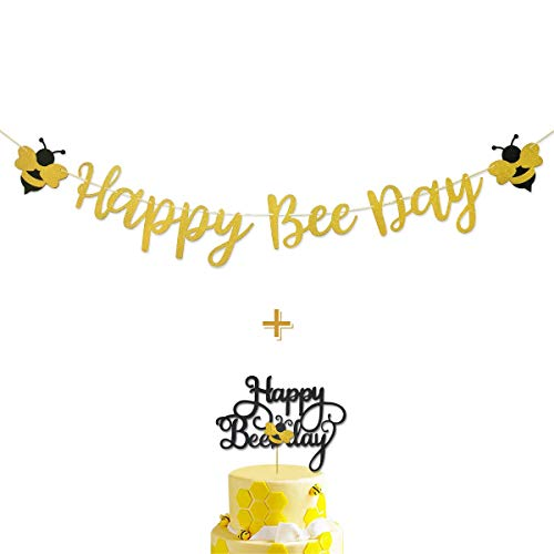 Happy Bee Day Gold Glitter Banner & Happy Bee Day Cake Topper for Bumble Bee Themed Happy Birthday Party Supplies Decorations