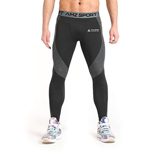 AMZSPORT Uomo Pantaloni Compressione Calzamaglia Sportivi Lunghi Leggins da Allenamento Running Nero M