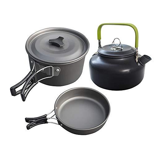 CRTTRC Juego de ollas Juego de té 2-3 Personas Juego de ollas y teteras Combinación de Utensilios de Cocina for Acampar Sin vajilla (Color : Black Handle Pot Green Handle teapot)