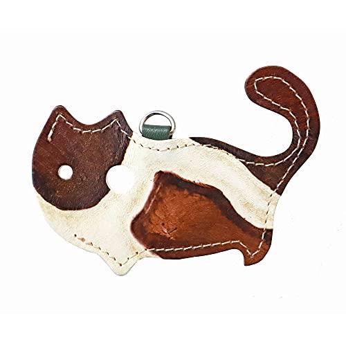 【猫グッズ・革・レザー】猫のかたちをしたリップクリームケース 「ジラフ ブラウン」 クアトロガッツ