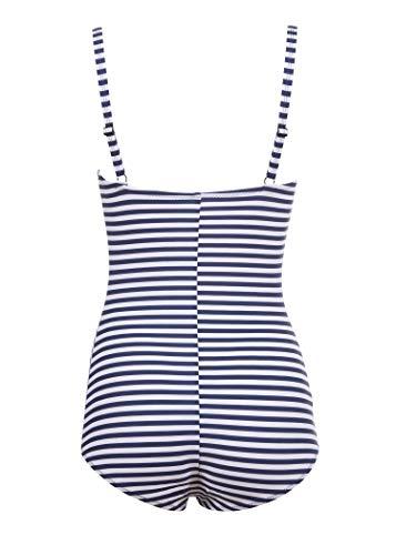 Traje de baño de rayas azules para mujer, estilo marinero, estilo retro vintage. azul L