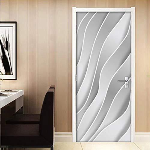 Mural Para Puerta Dormitorio Moderno De La Sala De Estar De Las Rayas Geométricas Abstractas 3D Desmontable Autoadhesivo Papel Pintado Puertas 90 X 200 cm