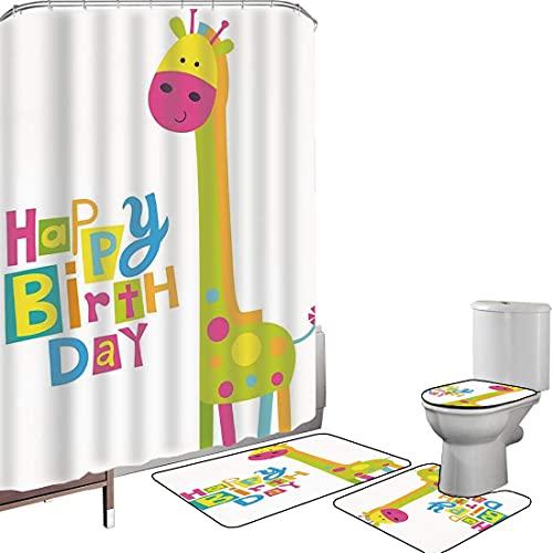 Juego de cortinas baño Accesorios baño alfombras Decoraciones de cumpleaños para niños Alfombrilla baño Alfombra contorno Cubierta del inodoro Fiesta infantil de estilo Kidergarten Jirafa verde con pu