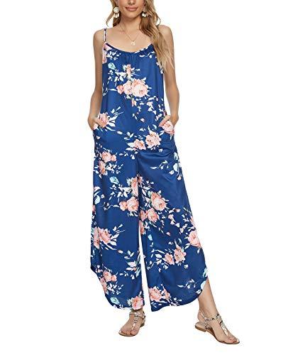 MINTLIMIT Jumpsuit Damen Sommer Lang Hosenanzug Festlich Elegant Playsuits,Blumen Blau,XXL=50