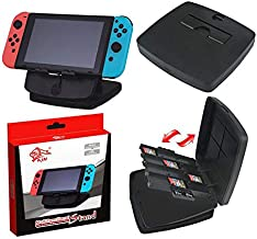 2-in-1 Nintendo Switch Stand Holder + Game Card Storage Box Stand for Nintendo Switch [Play While Charging][Travel Friendly] Switch Stand Dock Bracket with Air Vents, Portable Playstand Cradle