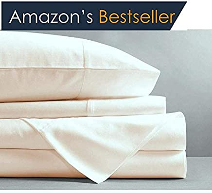 featured product Superior Hotel Luxury 1500 Thread Count 4-Piece Bed Sheet Set Authentic Heavy Egyptian Cotton Fits Mattress 15 to 18'' Inch Deep Pocket,  King Size,  Ivory Color { Style : Solid }