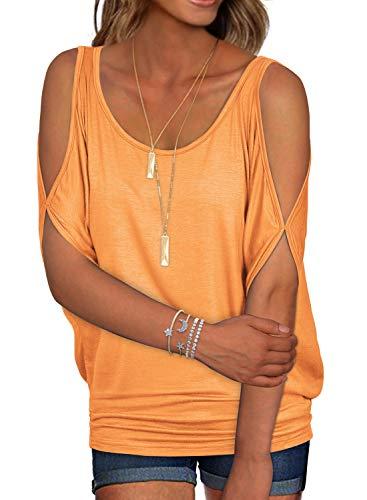 Orange Summer T Shirt Women Short Sleeve Cold Shoulder Loose Fit Pullover Casual Top