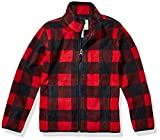 Amazon Essentials Girl's Zip-Up Fleece Jacket Outerwear, Red Buffalo Check, XXL (14)
