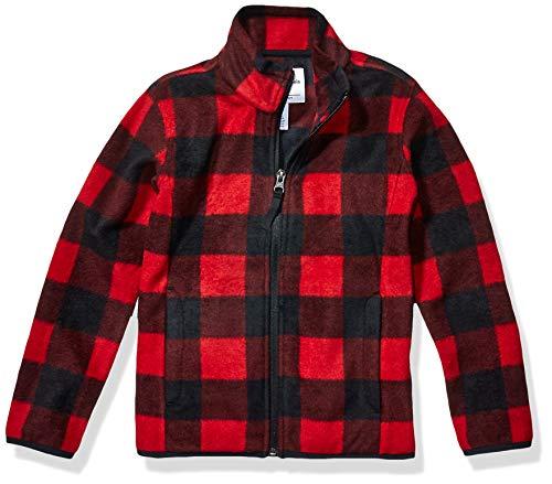 Amazon Essentials Zip-up Fleece Jacket Chaqueta, Exploded Grey Buffalo Check, XS (4-5)