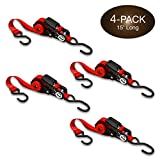 Self-Storing NeatStrap Ratchet Strap 1 in x 15 ft | 4 Pack | Motorcycle, Kayak Ratcheting Strap Tie-Downs for Neat Hauling and Storing | Tie Down Cargo Securely in Pickup Bed, Moving Truck, Trailer