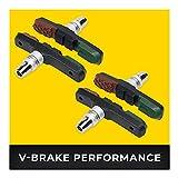 V-Brake Zapatas Freno 2 Par 72mm Asymmetric I para Shimano, Tektro, Avid, Sram, XLC etc I Alto Rendimiento I Durable & Ajuste V Pastillas de Freno Bicicleta