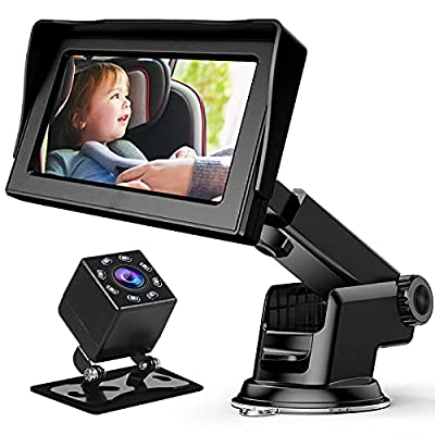 Baby Car Mirror, Baby Car Camera for Car Mirror Baby Rear Facing Seat with 4.3'' HD Display, Night Vision, Upgrade 360 Degree Rotating Dashboard Baby Monitor, Easily Observe the Baby's Move