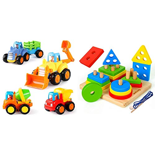 Coogam 4 Pack Friction Powered Cars + Wooden Sorting & Stacking Toys for Toddler Age Year Old