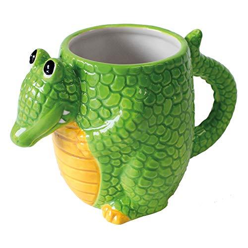 Deluxebase Taza del cocodrilo de los Critters de la Loza Taza formada Linda, Animal de la Novedad para los niños y Adultos.