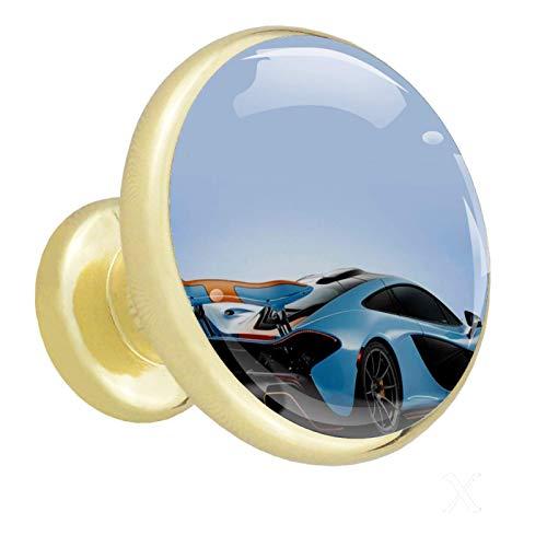 Cajón tira de oro coche genial Perillas de gabinete, paquete de 4 perillas de vidrio para guardarropa, paquete de 4 1.26x1.18x0.66in