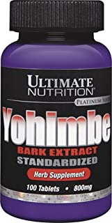 Ultimate Nutrition Yohimbe Bark Extract Tablets, Standardized, 800 mg, 100-Count Bottles