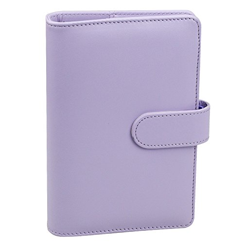 A6 PU Leather Notebook Binder,Refillable 6 Round Ring Binder Cover for A6 Filler Paper,Macaron Notebook Personal Planner Binder with Magnetic Buckle,Lavender