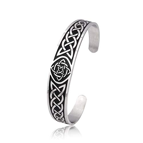 Gungneer Celtic Knot Bangle Cuff Enternity Love Symbol Stainless Steel Wristband Trinity Knot Jewelry Men Women