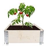 AYNEFY Bancal alto de madera con marco de palé para plantas, jardinera apilable, para balcón, terraza, jardín, natural (60 x 19 x 80,5 cm)