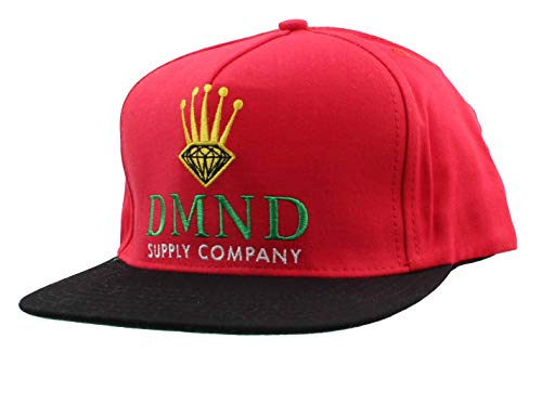 Diamond Supply Co DMND Crown Embroidered Snapback Hat (Red)