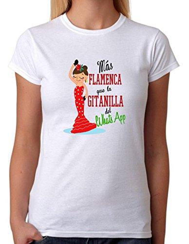 Camiseta Más Flamenca Que la gitanilla del Whats App. Camiseta Divertida para Fiesta, Feria, Despedidas de Soltera, Grupo de Amigas. Regalo Ideal