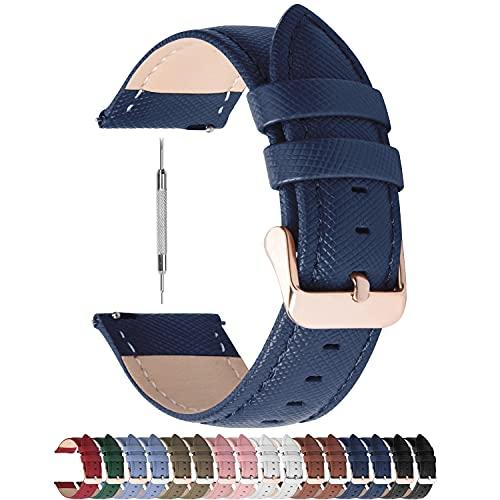Fullmosa Uhrenarmband, Cross Serie Echtes Lederarmband Ersatzband Smart Watch Armband mit Edelstahl Metall Schließe 18mm Dunkelblau + Roségold Schnalle