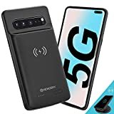 NEWDERY Upgraded Samsung Galaxy S10 5G Battery Case Qi Wireless Charging Compatible, 5000mAh Slim Rechargeable Portable External Charger Case Compatible for Samsung Galaxy S10 5G (6.7 Inches Black)