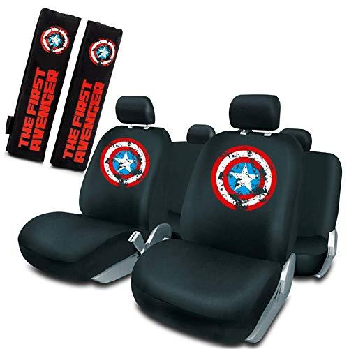 Capitán América Juego de Fundas Asiento Universales + 2 Almohadillas cinturón Universal Negro Marvel
