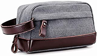 Men's Travel Toiletry Bag Bathroom Shaving Dopp Kit, Vintage Canvas Leather, by Cloudin (Deep Gray)