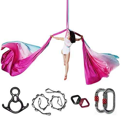KIKIGOAL 10M Aerial Yoga Silk Equipment Yoga Pilates Swing Aerial Yoga Antigravity Hammock Trapeze for Yoga Strap Bodybuilding (Gradual G)