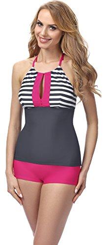 Merry Style Conjunto Tankini Camiseta y Short Traje de Baño Mujer MS10-113 (Gris/Rosa Rayas, EU 44 = ES 46)