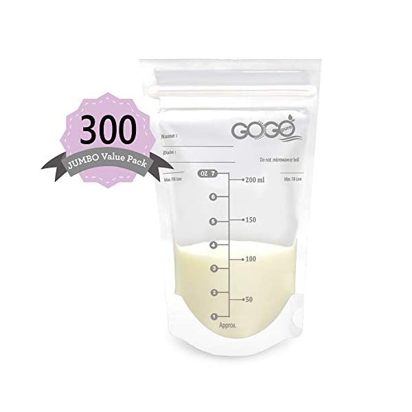 300 Count (5 Pack of 60 Bags) Jumbo Value Pack Breastmilk Storage Bags – 7 OZ, Pre-Sterilized, BPA Free, Leak Proof Double Zipper Seal, Self Standing, for Refrigeration and Freezing – Only at Amazon