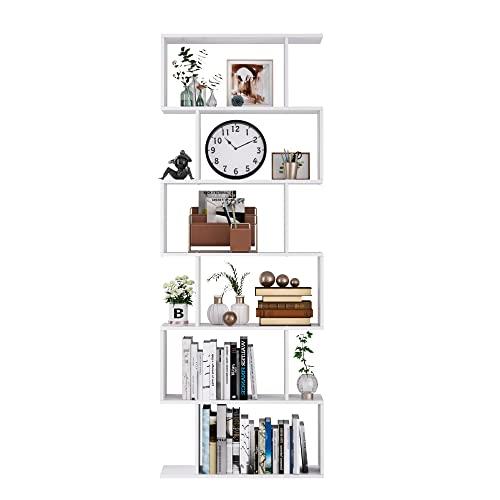 Mueble Estantería Librería Salón de 6 Estantes Estantería para Libros de Madera Estilo Moderno Muy Estable Blanco 70x23.5x190.5cm