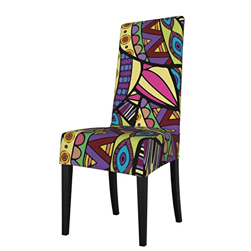 Allgobee Stretch Printed Dining Chair Covers Colorful Knots Tilapia Fish Spandex Removable Washable Dining Chair Protector Slipcovers for Kitchen,Party